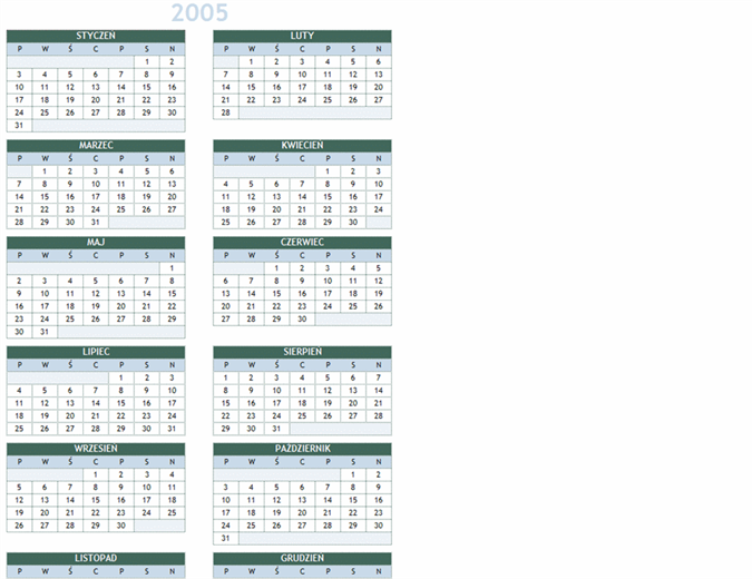 Kalendarz na lata 2005–2014 (pon.–niedz.)