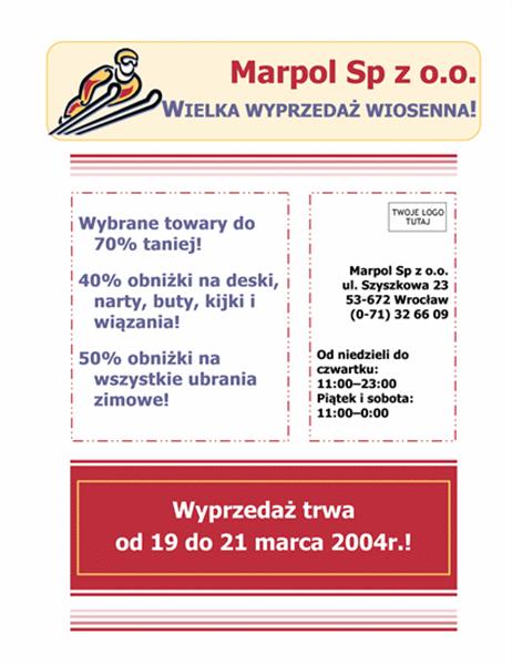 Ulotka firmowa o sprzedaży (8,5 x 11)