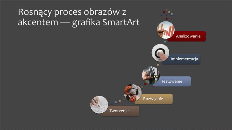 Rosnący proces obrazów z akcentem — grafika SmartArt (wiele kolorów na szarym tle), format panoramiczny