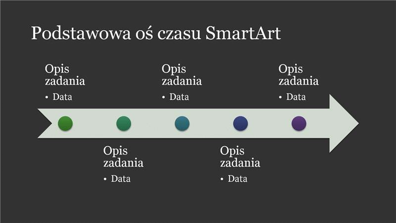Podstawowa oś czasu SmartArt (kolor biały na ciemnoszarym), panoramiczna
