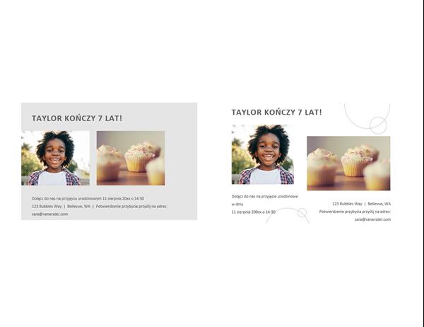 Pocztówki z zaproszeniem na przyjęcie urodzinowe z fotografiami (2 na stronę)