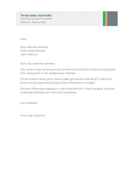 List biznesowy (motyw Sprzedaż — paski)