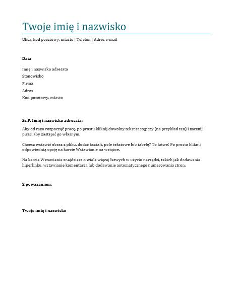 List motywacyjny (niebieski)