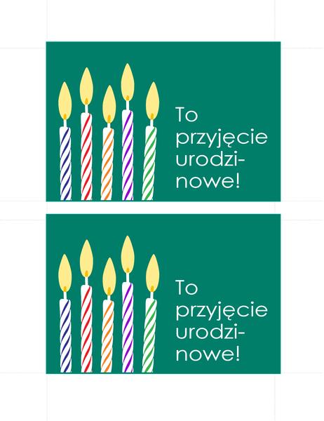 Pocztówki z zaproszeniami na urodziny (2 na stronie)