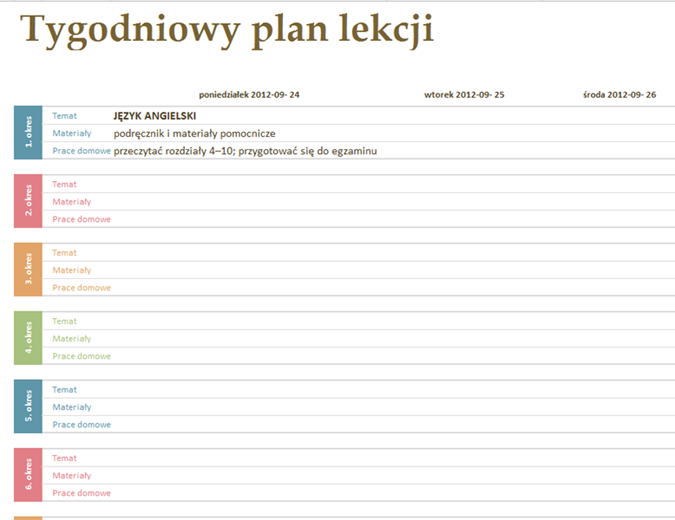Tygodniowy plan lekcji