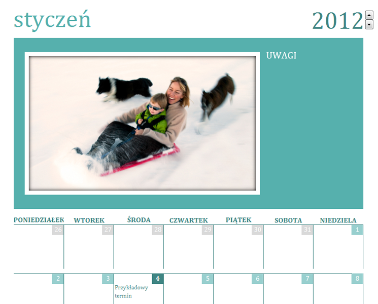 Rodzinny kalendarz fotograficzny (miesięczny)
