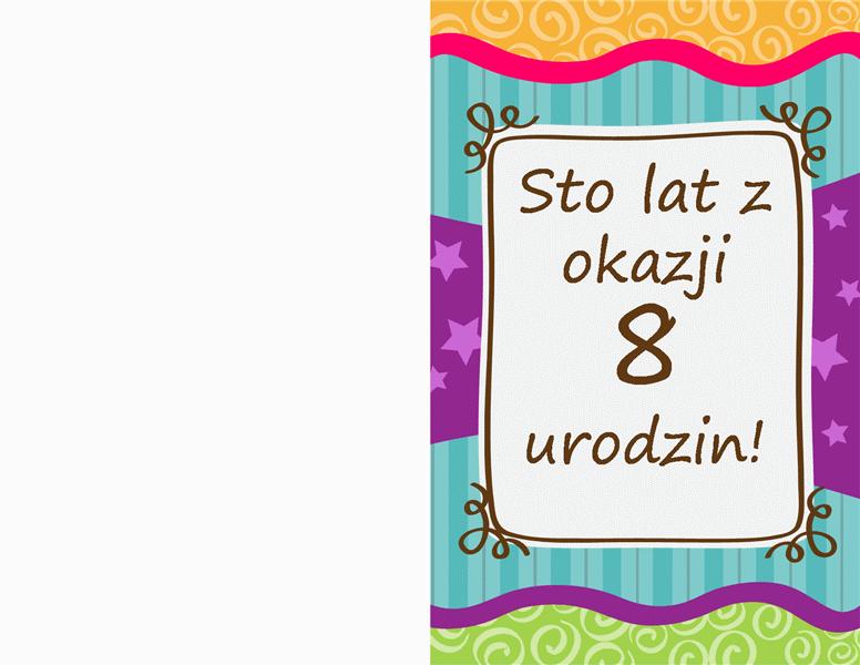 Kartka urodzinowa — gwiazdki i paski (dla dzieci)