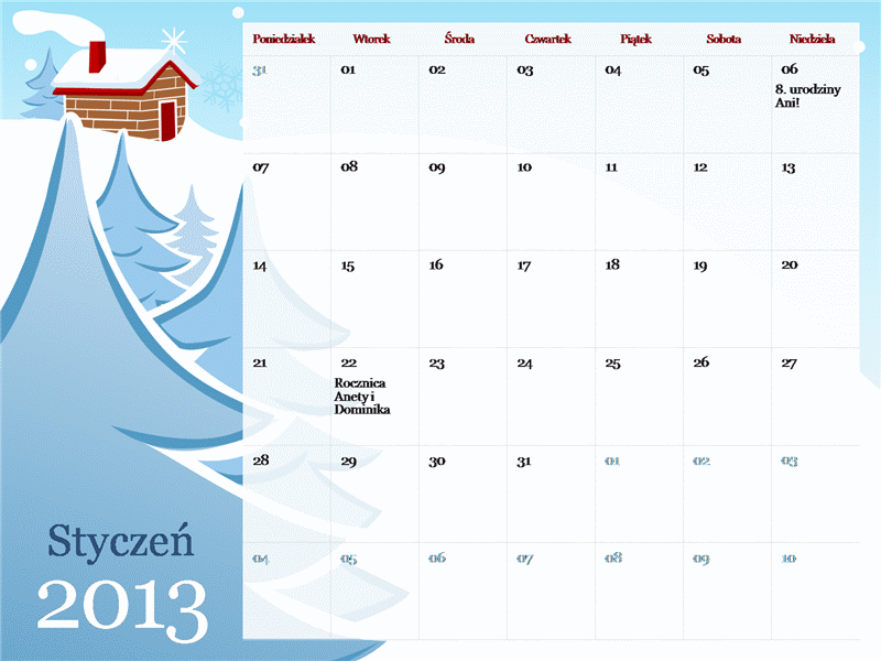 Ilustrowany kalendarz sezonowy na rok 2013, poniedziałek — niedziela