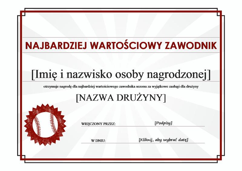 Dyplom dla najbardziej wartościowego zawodnika