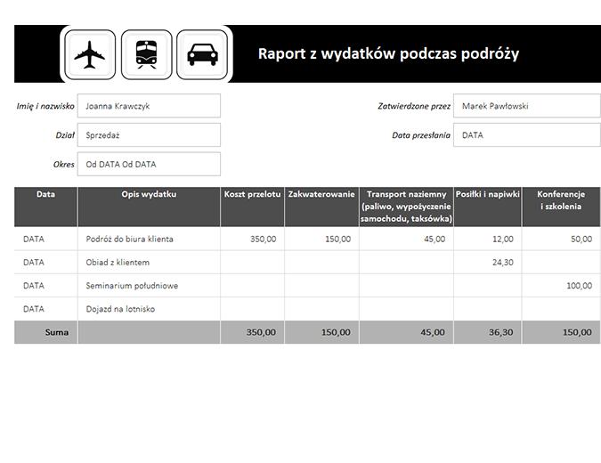 Raport z wydatków podczas podróży z dziennikiem przebiegu