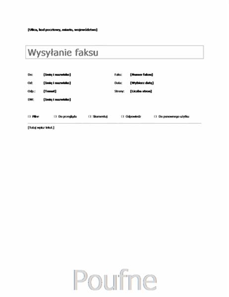 Podstawowa strona tytułowa faksu