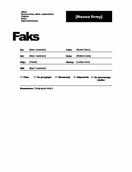 Strona tytułowa faksu