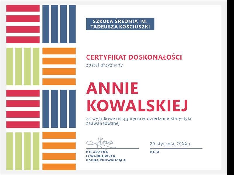 Certyfikat doskonałości dla ucznia
