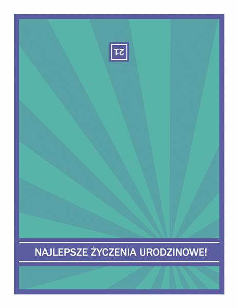 Kartka urodzinowa z niebieskimi promieniami na zielonym tle