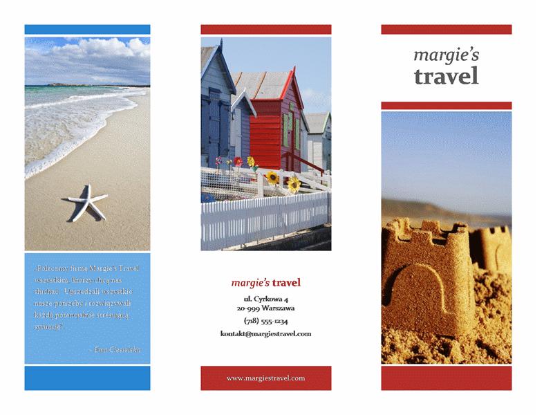 Trzyszpaltowa broszura biura podróży (projekt w kolorach czerwonym, złotym i niebieskim)