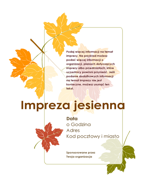 Ulotka z zaproszeniem na imprezę jesienną (z liśćmi)