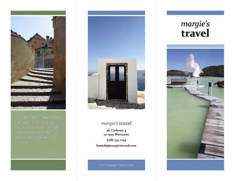 Trzyszpaltowa broszura biura podróży (motyw w kolorach niebieskim i zielonym)