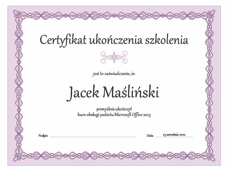 Dyplom ukończenia szkolenia (purpurowy łańcuch)