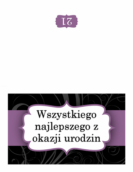 Kartka urodzinowa (fioletowa wstążka)