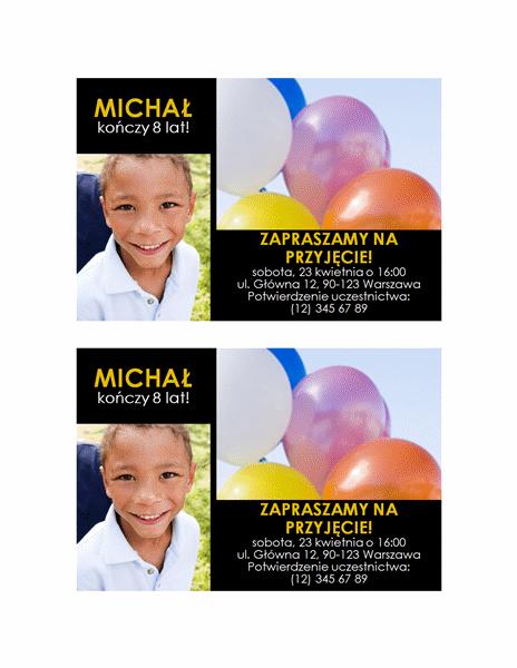 Zaproszenie na przyjęcie (żółty tekst na czarnym tle, 2 zdjęcia)