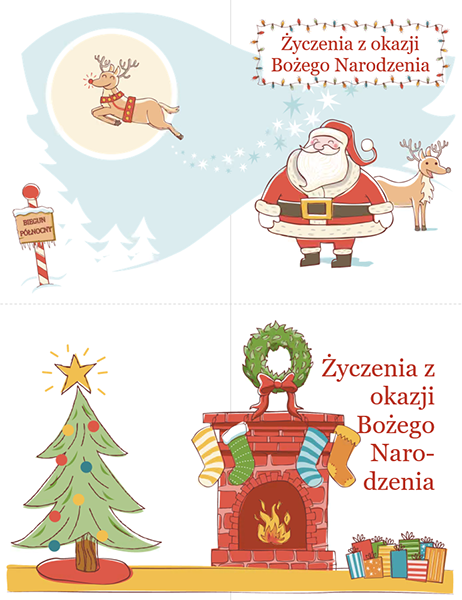 Kartki bożonarodzeniowe (projekt atmosfery Bożego Narodzenia, 2 na stronę)