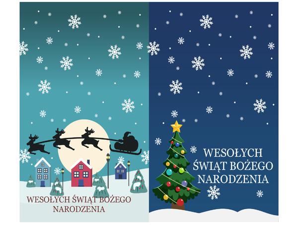 Kartki bożonarodzeniowe z przesłaniem (projekt atmosfery Bożego Narodzenia, 2 na stronę, do papieru Avery 3268)