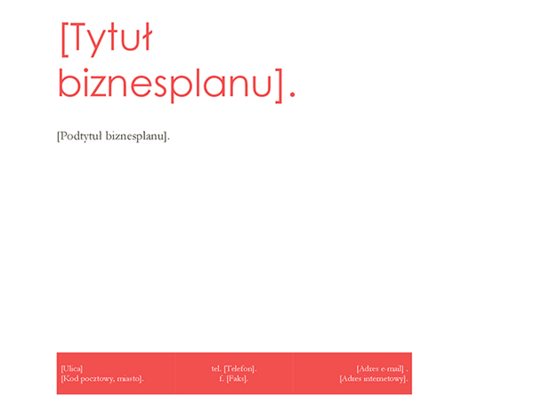 Biznesplan (projekt Czerwony)