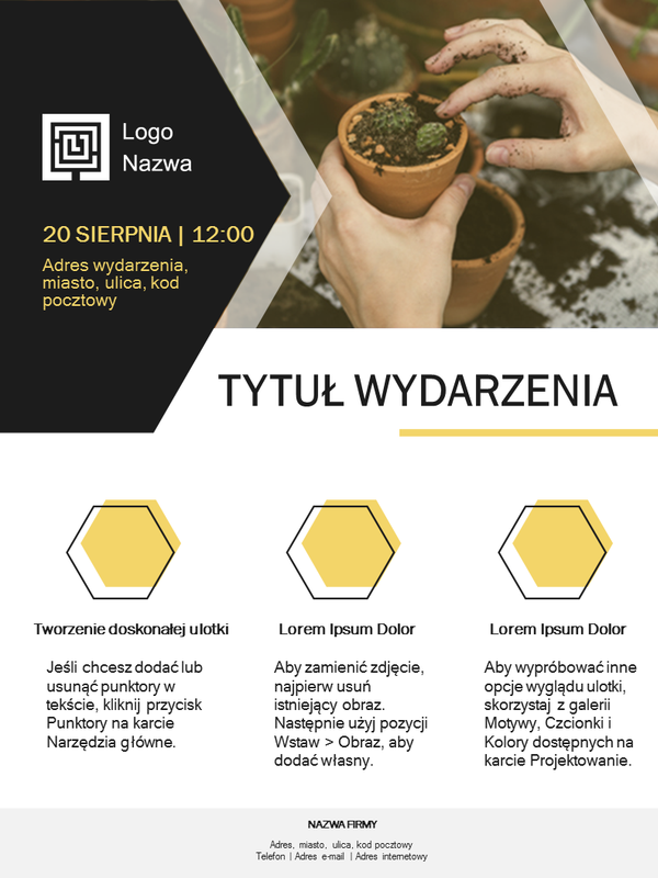Ulotka dla małych firm (projekt złoty)