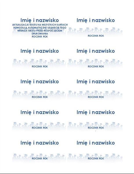 Karty z imionami i nazwiskami absolwentów (10 na stronie)