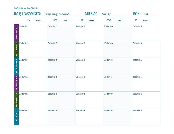 Arkusz zadań w tygodniu (kolorowy, poziomy)