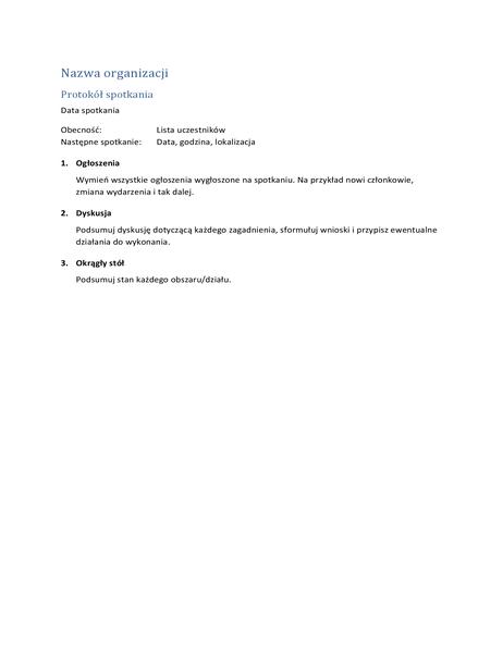Protokół spotkania (wersja skrócona)