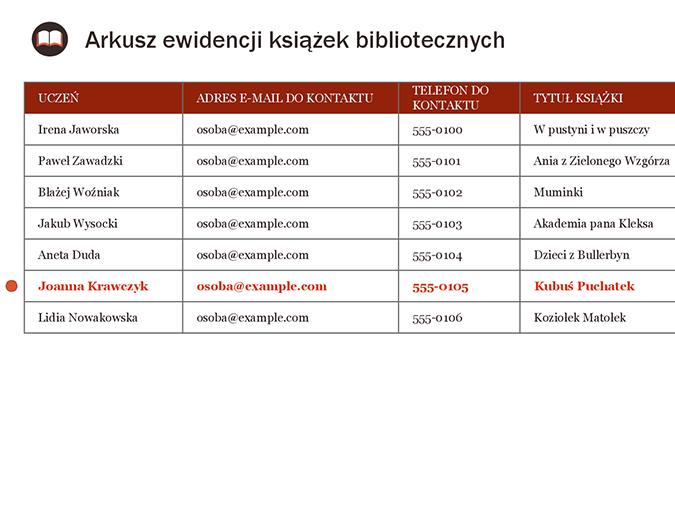 Arkusz ewidencji książek bibliotecznych
