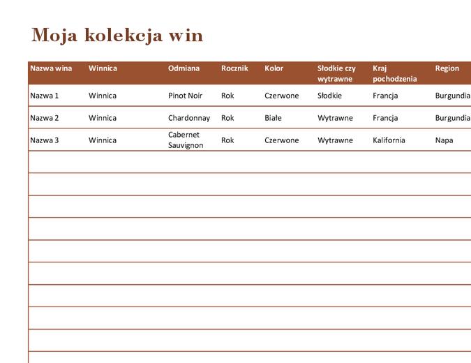 Lista kolekcji win