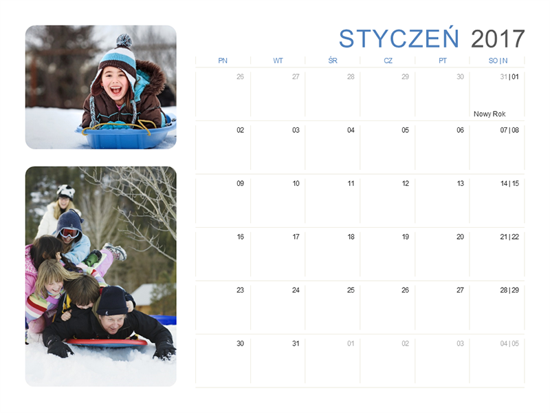 Kalendarz na rok 2017 z fotografiami (pn.–sob./niedz.)