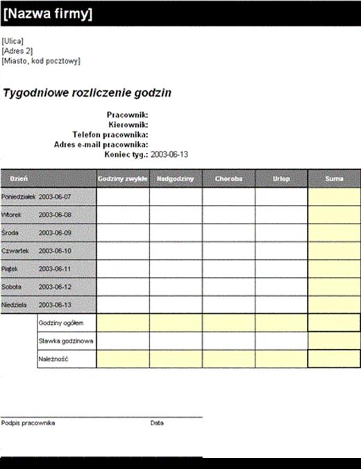 Arkusz rozliczenia tygodniowego (8,5x11, pionowy)