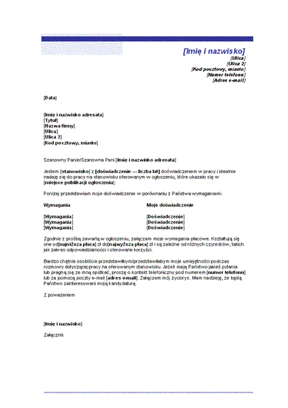 List motywacyjny z wymaganiami płacowymi (motyw niebieskiej linii)