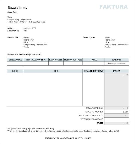 Faktura sprzedaży z obliczonym podatkiem oraz kosztami wysyłki i pakowania