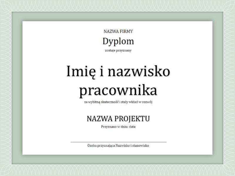 Dyplom dla pracownika
