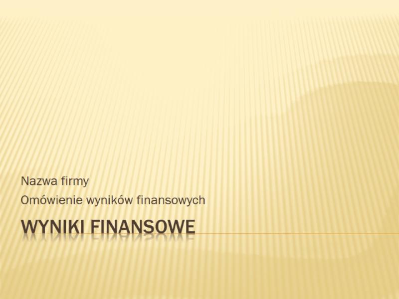 Prezentacja wyników finansowych