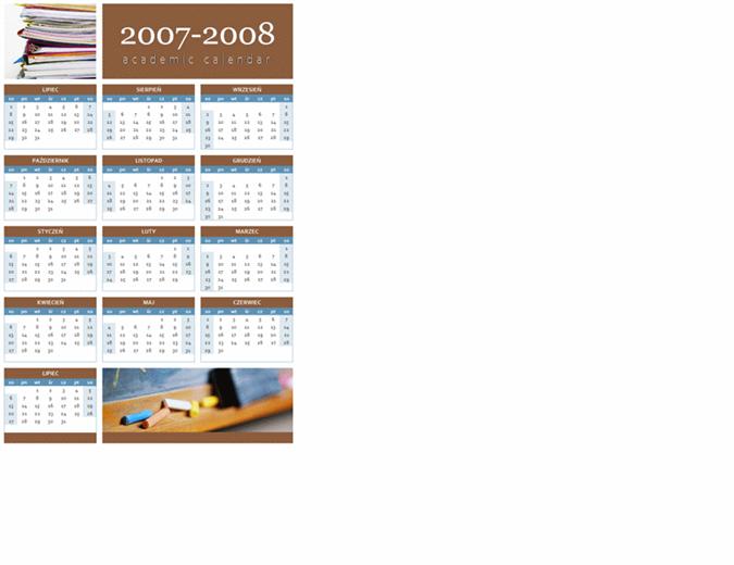 Kalendarz akademicki 2007–2008 (1 strona)