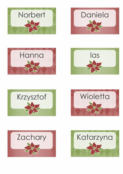 Świąteczne karty z oznaczeniem miejsca (pasują do etykiet Avery 8371, 8376, 8377, 8811)