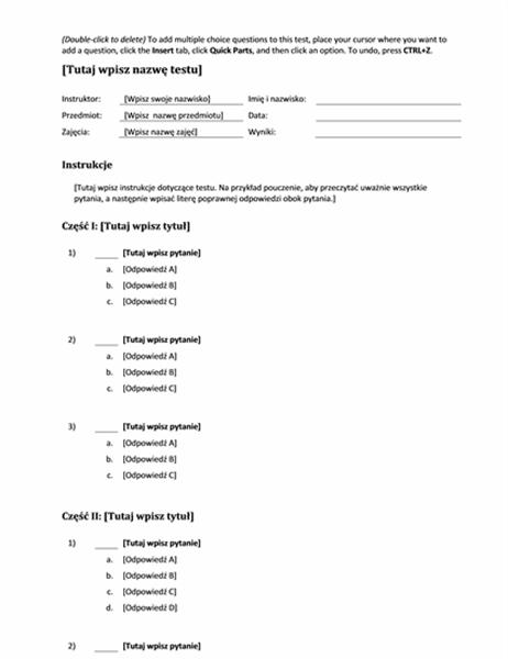 Zestaw testów wielokrotnego wyboru (pytania o 3, 4 lub 5 odpowiedziach)