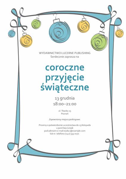 Zaproszenie na przyjęcie świąteczne z niebieskimi, zielonymi i żółtymi ornamentami (motyw Nieoficjalny)