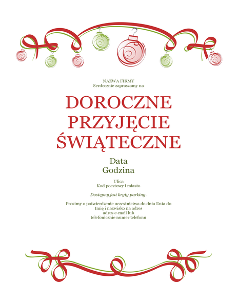 Zaproszenie na przyjęcie świąteczne z ozdobami i czerwoną wstążką (projekt formalny)