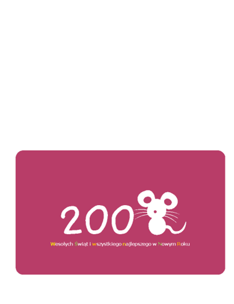Kartka z życzeniami świątecznymi (2008 — Rok Szczura, składana na pół)