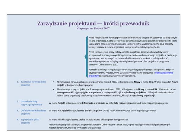Zarządzanie projektami — krótki przewodnik dla programu Project 2007