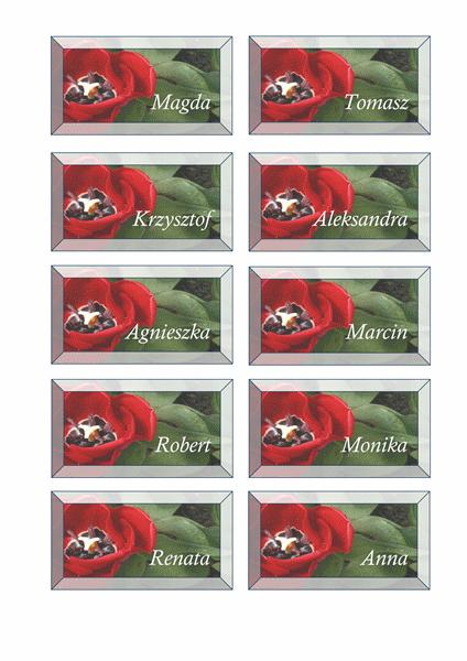 Kartki do oznaczania miejsc przy stole (motyw Kwiaty)
