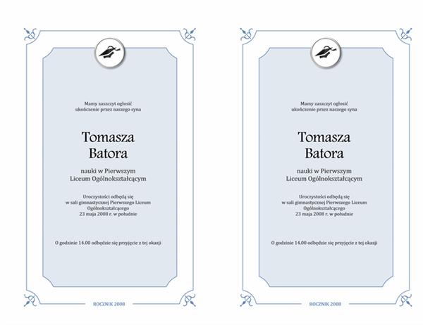 Zawiadomienie o uroczystości wręczenia dyplomów (projekt oficjalny)