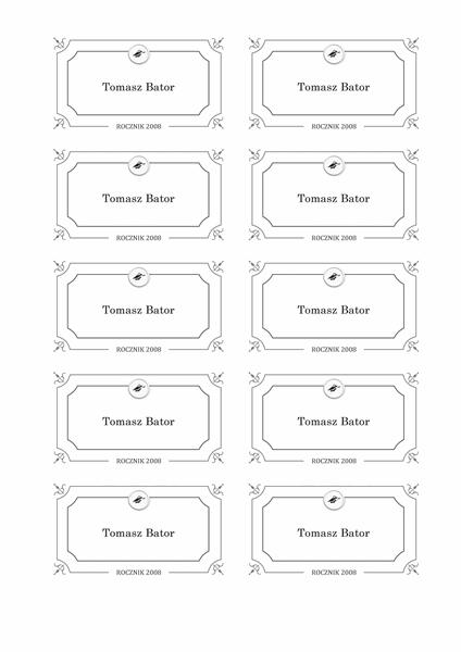 Wręczenie dyplomów — kartki z nazwiskami (projekt oficjalny, czarno-biały)