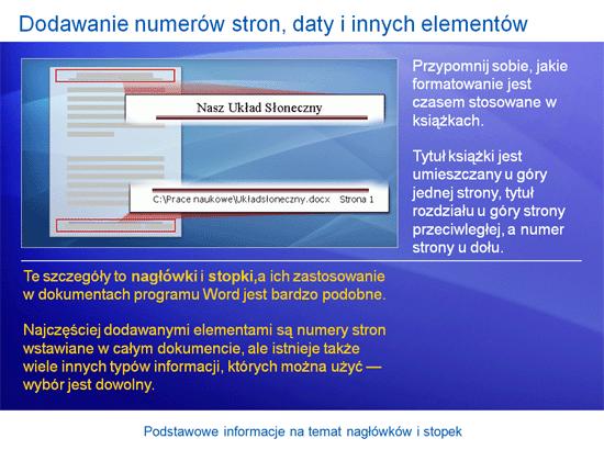 Prezentacja szkoleniowa: Word 2007 — podstawowe informacje na temat nagłówków i stopek